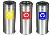 3 Lü Çöp Kovası Metal Kağıt Plastik Geri Dönüşüm Kutusu