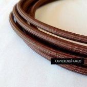 2x0,50mm Kahverengi Renkli Dekoratif Örgülü Kumaş Kablo, 5 Metrelik Paket