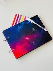 özel Tasarım Space Galaksi Siyah Yapraklı Fotoğraf Albümü