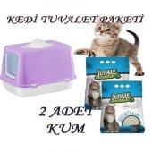 Kapalı Kedi Tuvaleti + 2 Adet 7 Lt Kedi Kumu