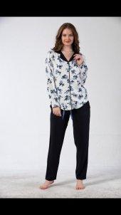 Navy Blossom Exculusive Collection Önden Düğmeli İpek Saten Pijama Takımı