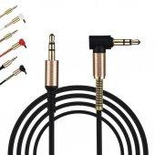 Bir Tarafı Çelik L Uçlu Araç İçi Stereo Aux 1mt 3.5mm Teyp Kablo