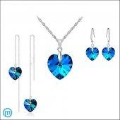 925 Ayar Gümüş Kalp Şekilli Takı Set Mavi