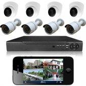 Primuscam Dome Güvenlik Kamera Seti 4 Dış 4 İç 8 Kameralı Set Gece Görüşlü 2mp Ahd