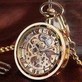 Winner Gold Dizayn Retro Kurmalı Köstekli Cep Saati Zincirli Saat