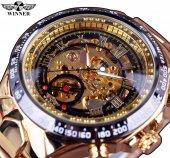 Winner Gold Tasarım Otomatik Erkek Kol Saati İskelet Lüks Saat
