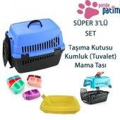 Kedi Köpek Taşıma Kutusu+kumluk+mama Kabı