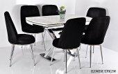 6 Kişilik Mutfak Masası Masa Sandalye Takımı Açılır X Ayak Masa