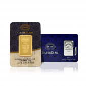 10 Gram 24 Ayar Külçe Altın + 10 Gram Külçe Gümüş