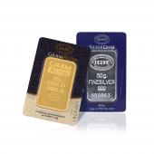 50 Gram 24 Ayar Külçe Altın + 50 Gram Külçe Gümüş