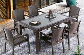 Novussi Liverno Camlı Masa Sandalye Takımı Bahçe Mobilyası