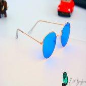Mavi Yuvarlak Çerceveli Şık Gözlük