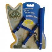 Kedi Göğüs Bel Tasma Takımı Medium Mavi