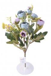 6 Dallı 28 Cm Şakayık Gül Yapay Çiçek Mavi Pembe C...