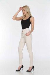 Krem Rengi Yüksek Bel Geniş Kemer Kadın Kot Pantolon Full Power Likralı