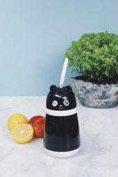 Siyah Panda 380 Ml Cam Su Matarası