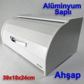Beyaz Ahşap Ekmek Sepeti 39x18x24cm Alüminyum Oval Saplı Ekmeklik