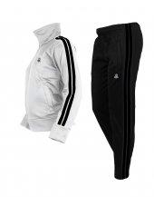 Erkek Çocuk Çift Şerit Beyaz Takım