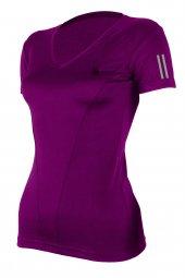 Kadın Mor Spor Tişörtü Çift Çizgi Baskı