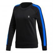 Kadın Siyah Sweatshirt Mavi Şerit