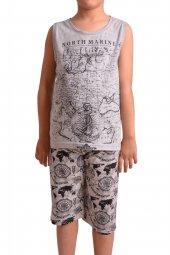Erkek Çocuk Kapri Bermuda Pijama Takımı Geniş Askılı Pamuk
