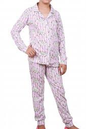 Kız Çocuk Pijama Takımı Uzun Kollu Düğmeli Garson Pamuk