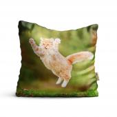 Kedi Desenli Dijital Baskılı Dekoratif Kırlent Kıl...