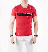Deepsea Kırmızı Yazı Baskılı Çizgili Sıfır Yaka Kısa Kol Erkek Tişört 1919559