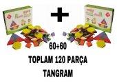 120 Parça Ahşap Eğitici Tangram Puzzle Blok İkili ...