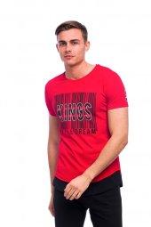 Desen Baskılı Trend Kırmızı Erkek Tişört