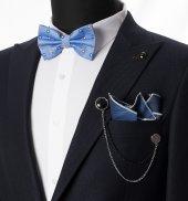 Deepsea Mavi Açık Üzeri Daire İşlemeli Payon Mendil Ceket Aksesuarı Seti 1901862