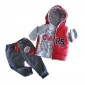 Erkek Bebek Şişme Yelekli Kapşonlu 6 18 Ay 3lü Eşofman Takımı Kırmızı C72731 1