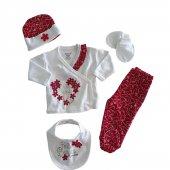 Kız Bebek Şapkalı 5li Yenidoğan Set 0 3 Ay Kırmızı C71807