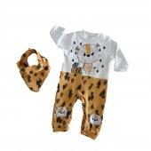 Erkek Bebek Fularlı Aslan Modelli 0 9 Ay Tulum Sarı C72503