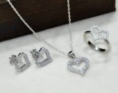 925 Ayar Gümüş Kalp Tasarımlı Üçlü Set