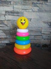 Plastik Silindir Kule Eğitici Eğlenceli Halkalar O...