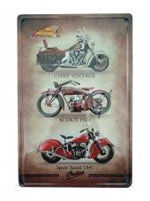 üç Farklı Motor Resimli Retro Metal Plaka 20x30 Cm Metal Tablo