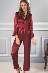Pierre Cardin Kadın Bordo 6lı Saten Gecelik Sabahlık Pijama Şort