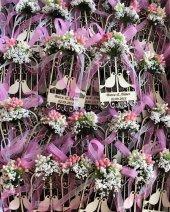 50 Adet Çiçekli Çift Kuşlu Kafes Nikah Şekeri Özel İsim Baskılı