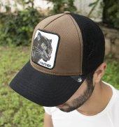 Deepsea Siyah Kahve Çerçeveli Panter Desen Ayarlanabilir Boyut Fileli Şapka 1908792