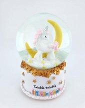 Ay Ve Unicorn Orta Boy Pilli Işıklı Müzikli Kar Küresi