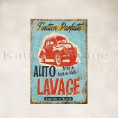 Auto Lavage Baskılı Ahşap Poster