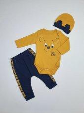 Erkek Bebek Şapkalı Zıbın Takımı 6 9 Ay Hardal C73569