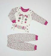 Kız Bebek Kedi Modelli Pijama Takımı 1 3 Yaş Pembe C70840 11