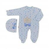 Erkek Bebek Şapkalı Taşlı Taç İşlemeli Kadife Tulum 0 3 Ay Mavi C73789