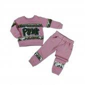 Kız Bebek Punk Yazılı Pul Detaylı Üç İplik İkili Takım 1 3 Yaş Pembe C74063