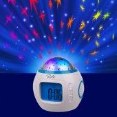 Projeksiyon Led Gece Lambası Çalar Saat Müzikli Yıldız Yansıtma