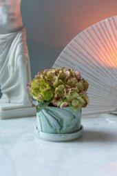 Yeşil Mermer Desenli Vazo