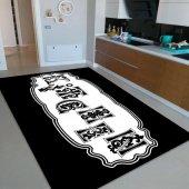 Rugviva Kaymaz Tabanlı Halı Mutfak Mt11 Siyah Beyaz